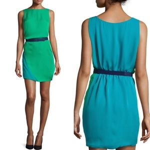 NEW! HALSTON HERITAGE Silk Cape Bi-Colored Dress